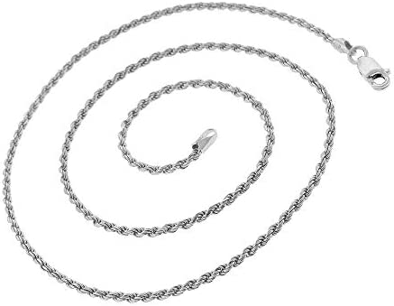 Authentic Solid Sterling Silver Rope Diamond-Cut Braided Twist Link .925 Rhodium Necklace Chains 1.5MM 5.5MM 16-30 Next Level Jewelry Men /& Women Made In Italy