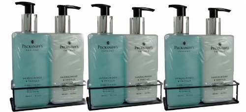 Three Sets of Pecksniff's Hand Wash & Body Lotion Duo in Sandalwood & Vanilla