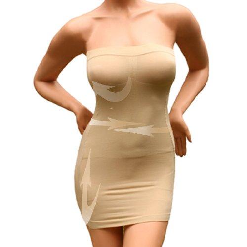 andux Sexy Damen Figurformende miederkleid trägerlos ausdehnungs minikleid schlankheits SS-W03 Beige