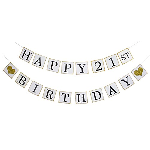 Heart Birthday 21st (Happy 21ST Birthday Banner - Gold Glitter Heart for 21 Years Birthday Party Decoration Bunting White (21))