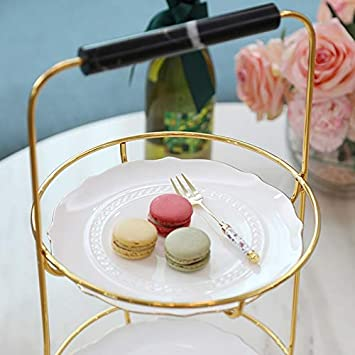 Double Cake Rack Ceramic Tray Metal Frame Snack Display Stand JSSFQK color : C