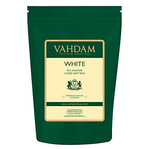 (VAHDAM, White Tea Loose Leaf Sampler | 5 TEAS - Himalaya White Tea, Silver Needle White Tea, Blue Mountain White Tea, Pearl Darjeeling White Tea Leaves - WORLD'S HEALTHIEST TEA | (25 Cups, 1.76oz))
