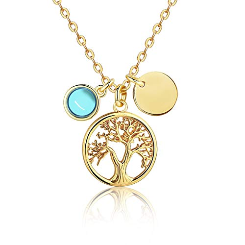 (biukpci Gold Tree of Life Necklace for Women 14K Filled Pendent Jewelry with Birthstone 15+2 Inches)