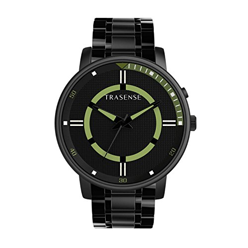 Trasense Hybrid Smartwatch with Stainless Steel Strap for iOS and Android Phone (Light Gren Dial Stainless Steel Strap)