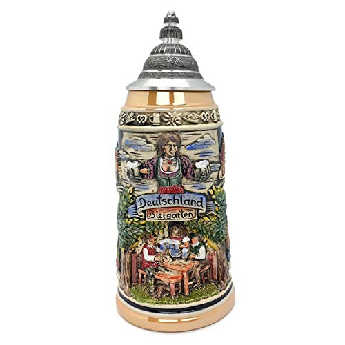 Biergarten 1 Liter Tankard Zoller & Born Mug Classic Motif Made in Germany German Collectible Ceramic Beer Stein with Lid