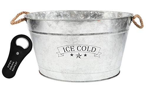 Galvanized Metal Drink Tub Features The Letters Ice Cold With Rope Handles For Easy Lifting Beverage Ice Bucket Farmhouse Style Includes Convenient Magnetic Bottle ()