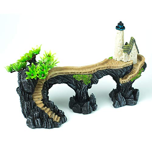 YSLDSNX Aquarium Ornaments Fish Tank Supplies Decorations Landscape Scenery Bookcase Accessories Resin Decor Mountain Tree Wooden House Lighthouse Plant Big Large Cave Handmade (Tank Stand Bottom)