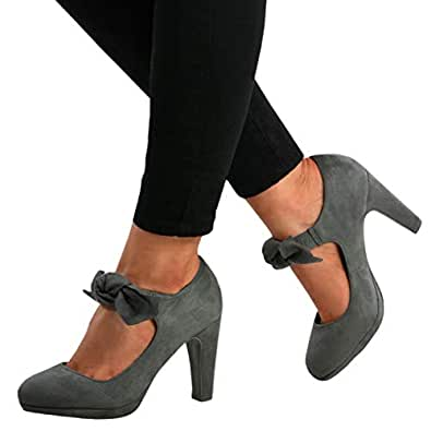 Womens Mary Jane Pumps Chunky High Heels Bowtie Ankle Strap Closed Toe Party Wedding Shoes Grey