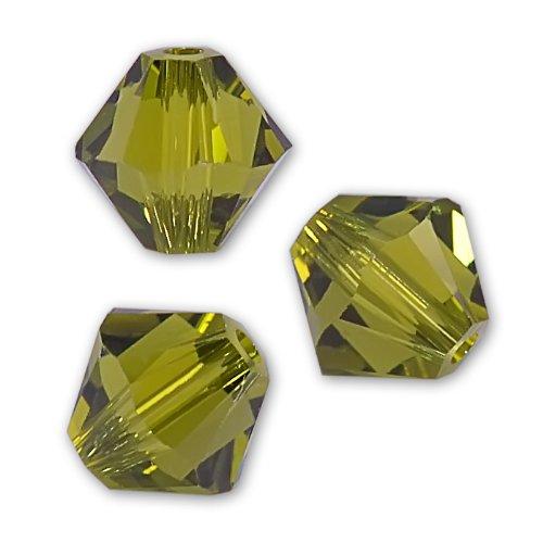 40 Olivine Bicone Swarovski Crystal Beads 5301 4mm