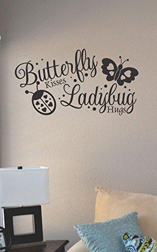 JS Artworks Butterfly Kisses Ladybug hugs Vinyl Wall Art Decal Sticker