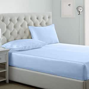 iBed home Fitted bedsheet 3Pcs Set, Microfiber,King Size, Pastel Blue