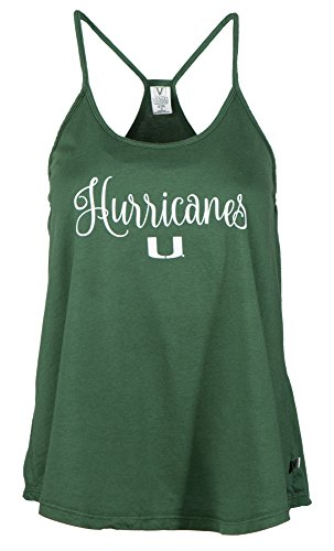 NCAA Miami Hurricanes Rik HI-LO Lampshade Tank T-Shirt, X-Large, Forest - Miami Shades