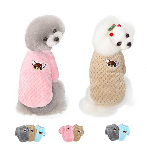 2 Pieces Dog Clothes for Small Medium Large Dog or Cat, Warm Soft Flannel Pet Sweater for Puppy, Small Dogs Girl or Boy, Dog Sweaters Vest Shirt Coat Jacket for Christmas (Small, Pink+Coffee)