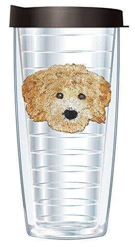 Goldendoodle Emblem on Clear Traveler 16 Oz Tumbler Mug with Lid
