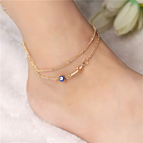 Yalice Layered Evil Eye Anklets Gold Cross Ankle Bracelet Beach Foot Chain for Women and Girls