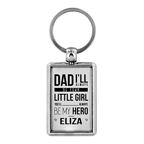Father's Day Gifts From Son, Daughter Eliza To My Dad - I'll Always Be Your Little Girl You Will Always Be My Hero Stainless Steel Key Ring Keychain Dad Boyfriend Drive Safe Keychain from HusbandAndWife