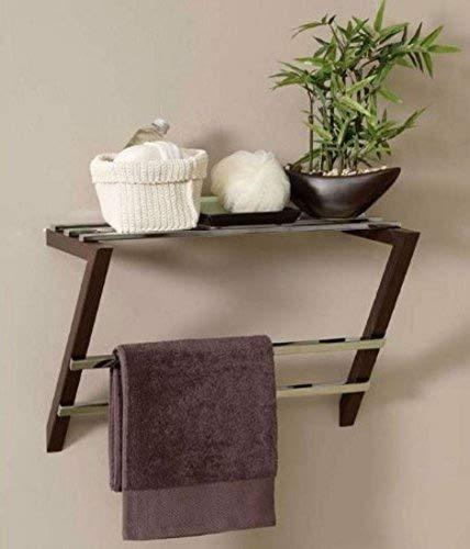 Home Source Wall Mounted Towel Rail Chrome Dark Wood Bathroom Metal Shelf Allibert EVEA M18131 Wall Mounted