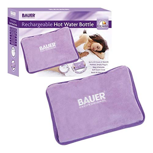 (Bauer Rechargeable Electric Hot Water Bottle with Soft Touch Cover Lilac)
