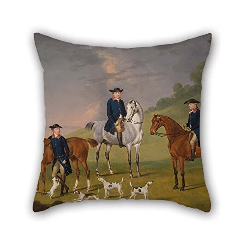 Rdkekxoel 20 X 20 Inches/Oil Painting Francis Sartorius - John Corbet, Sir Robert Leighton and John Kynaston with Their Horses and Hounds Pillowcase is Fit for Kids Living Room Teens G