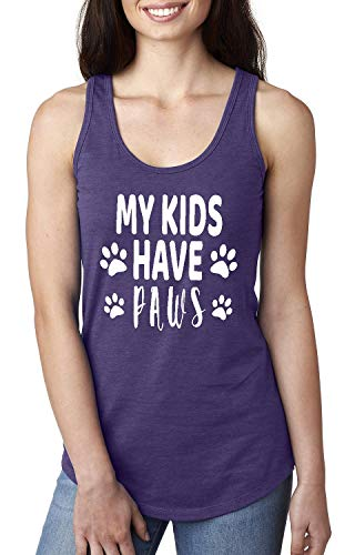 My Kids Have Paws Women's Racerback Tank Top (LPR) Purple Rush