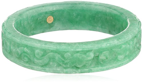 Carved Green Jade Large Slip-On Bangle Bracelet by Amazon Collection