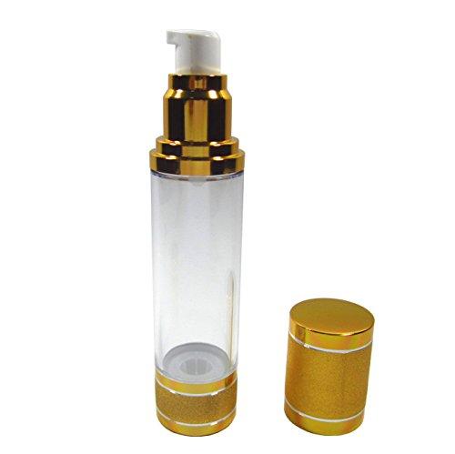Airless Pump Bottle Gold Empty Vacuum for Refillable Container Cosmetic Cream Lotion Serum Liquid 1.6 oz 50 ml