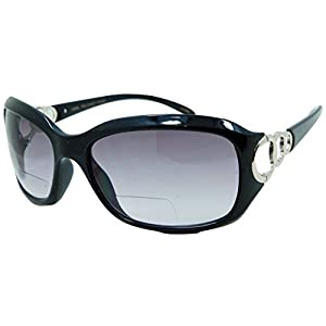 In Style Eyes Circle Power, Nearly Invisible Line Bifocal Sunglasses/Black 2.00