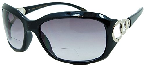 In Style Eyes Circle Power, Nearly Invisible Line Bifocal Sunglasses/Black - Sun Glasses Power With
