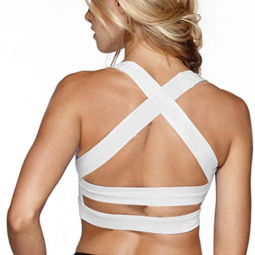 Snailify Women's Sports Bra Criss Cross Racerback High Impact Yoga Running Wirefree Bras - Yoga Gym Workout Bra White