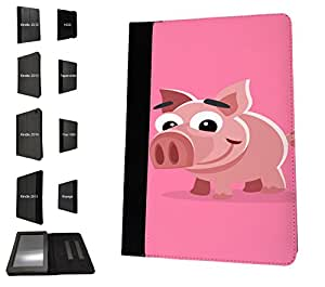 1155 - Cute Fun Pig Animal Pinky Design Amazon Kindle Fire HD 7'' 4th Generation 2014 Fashion Trend TPU Leather Flip Case Protective Purse Pouch Book Style Defender Stand Cover
