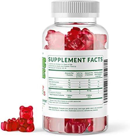 41esD0COCyL. AC - MAV Nutrition Probiotics For Kids Vitamins - Flora Health Support Gummies With 2 Billion Live Probiotic Cultures Fiber Supplement; Natural Flavor; 60 Gummies