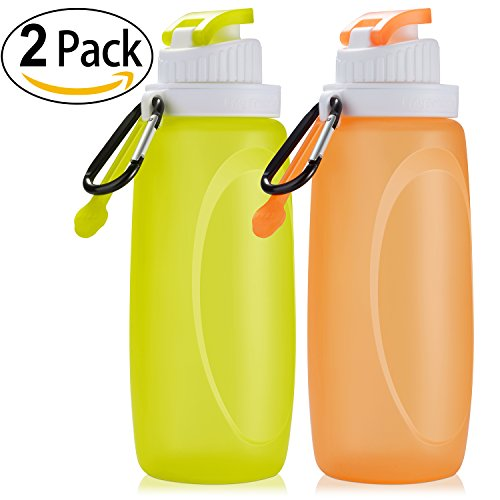 ShinePick Collapsible Water Bottles BPA Free Drinking Bottles for Sports Travel Cycling Camping(500ml/17oz) 2