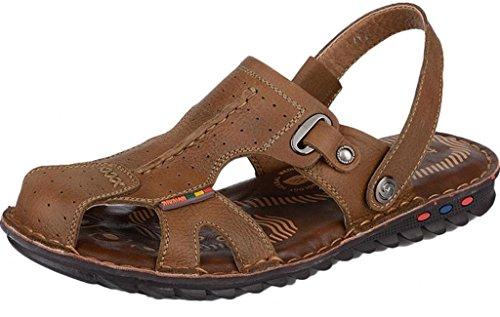 ADS da uomo in pelle stile britannico estate flip flop spiaggia sandali marrone