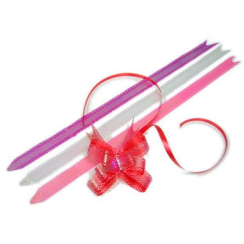 Small Iridescent Graduated 3 Wings Butterfly Pull Ribbon - Pack of 10 - pink