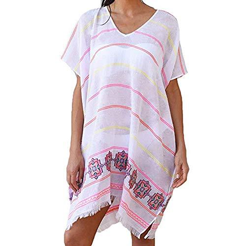 (MUJUZE Women Perspective Stripe Print Tassel Swimsuit Cover Up Dress Kaftan Bikini Swimwear Cover Ups (Cover-ups a-Pink))