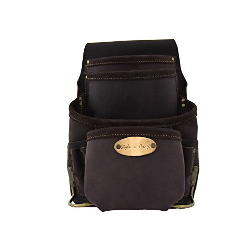 Top Grain Leather Tool - Style n Craft 90-926 10 Pocket Nail and Tool Pouch In Top Grain Oiled Leather