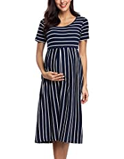 BBHoping Women's Casual Striped Maternity Dress Short&3/4 Sleeve Knee Length Pregnancy Clothes for Baby Shower