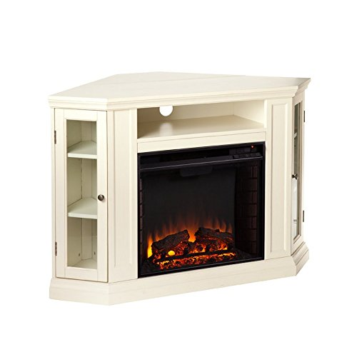 Liquid Pack Solutions Don't Wait Buy Your New Ivory Corner TV Stand with Fireplace Includes 2 Cabinets And One Open Shelf Made of Wood and Glass