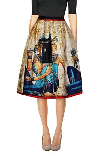 Womens Egypt Mural Printed High Waist Knee Length Pleated Midi Princess Skirt L