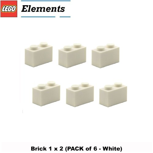 Lego Parts: Brick 1 x 2 (PACK of 6 - White) (Plane Fighter Indiana Jones)