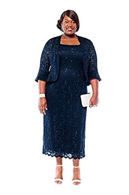 RM Richards Women's Plus Size Sequin Lace Midi Dress With Jacket - Mother of The Bride Wedding Dresses