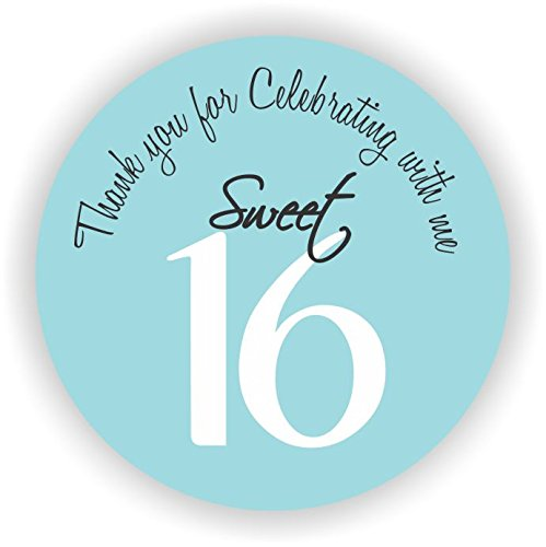 Party Favor Stickers - Sweet Sixteen Stickers - Favor Stickers - Sweet Sixteen Favor Stickers - Set of 40 Stickers (Light (Sweet 16 Party Supplies Blue)