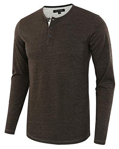 (HETHCODE Men's Classic Comfort Soft Regular Fit Long Sleeve Henley T-Shirt Tee H.Charcoal/H.Oatmeal S)