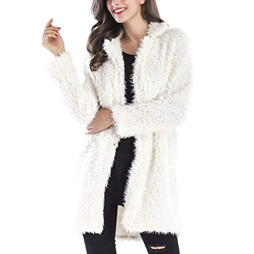 Fleece Taille White Goyfeelip Cardigan L Fausse Color Size Femmes Hiver Plus Outwear Fourrure Veste Long Revers Manteau qv6wU0q