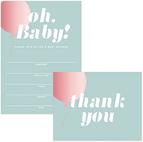 Baby Shower Invitations & Matched Thank You Cards (100 of Each) Set with Envelopes Large Celebration Mommy-to-Be Girl Daughter Female Gender Baby Fill-in Invites & Thank You Notes Best Value Pair