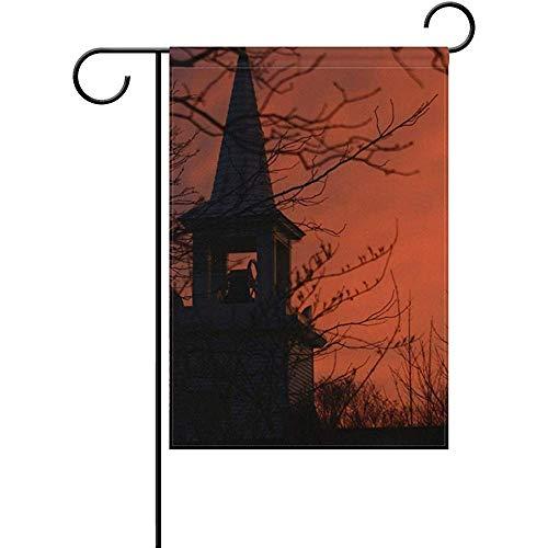 Starohou Halloween Church Sunset Garden Flag Home Outdoor Patio Seasonal Holiday Fabric 12