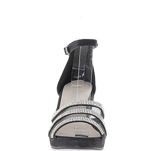 Sandalias de cuña negro aspecto mujer ante cordón tacón 8,5 cm