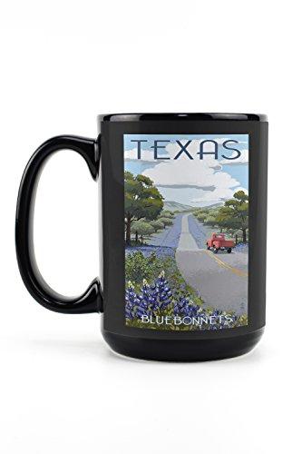 Lantern Press Texas - Bluebonnets and Highway (15oz Black Ceramic Mug - Dishwasher and Microwave Safe)