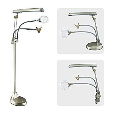 OttLite 24 Watt Ultimate 3-in-1 Craft Lamp | Floor Lamp, Table Lamp, Clamp-On Lamp | Lighted 2X Optical-Grade LED Magnifier, Outlet, Hands-Free Clip | Great for Office, Home, Workshop (Champagne)