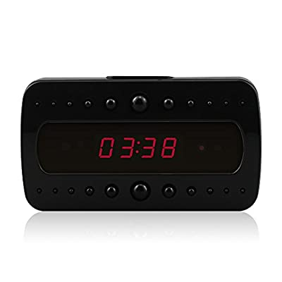downee Hidden Camera Alarm Clock HD Motion Detection Video Recorder Mini Camera Spy Nanny Cam, Black (8GB) by downee
